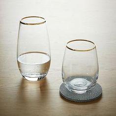 Stemless Glassware - Gold Rimmed #westelm