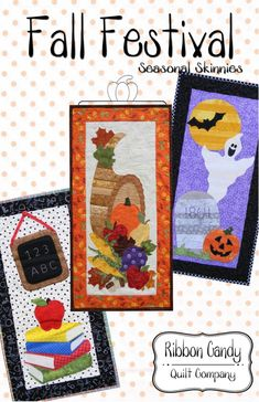 Seasonal Skinnies quilts finish x approximatly They use fusible web applique The images are stripped pieced so you can use your. Skinny Quilts, Ribbon Candy, Fall Sewing, Halloween Quilts, Fall Quilts, Miniature Quilts, How To Finish A Quilt, Quilting Projects, Sewing Projects