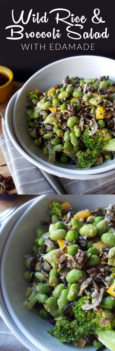 Vegan Wild Rice and Broccoli Salad with Edamame, Peas and Raisins - Great as a side or entree! Easy to make and keeps great.