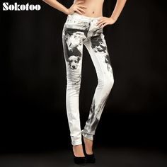 Sokotoo Women's print jeans female trousers flower trousers classic black and white personalized vintage skinny pants