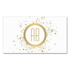 Gold Paint Splatter Business Card Template for Makeup Artists - Personalize with your own initials. Your contact info is elegantly displayed on the backside of the card.: