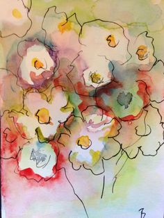 Aquarell Aquarellpostkarte Blumen Bild Malerei Postkarte postcard cards Watercolour Flowers