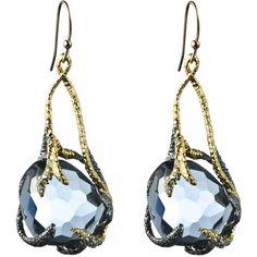 Alexis Bittar Siyabona Gunmetal Synthetic Blue Topaz Suspended Drop Earring ($245) found on Polyvore