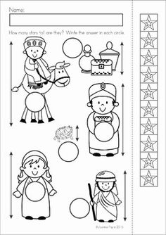 Christmas Nativity Preschool Math and Literacy No Prep worksheets and activities. A page from the unit: measure and write how tall