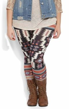 Deb Shops #Legging with Orange and Black Southwest Tribal Print $10.00