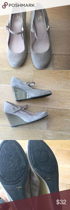 Grey Suede Vince Camuto Wedges Gently used Vince Camuto Wedge Mary Jane Heels. Size 8.5. Grey Suede upper and Grey Patent leather wedge heel. Vince Camuto Shoes Wedges