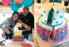 Sure, you've seen genders revealed with cake—but you've never seen one like this! When this couple was expecting twins, they used a sealed envelope to let the