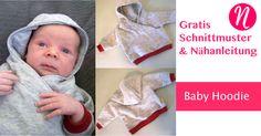 Baby-Hoodie selber nähen - 0 - 3 Monate - Kostenloses PDF-Schnittmuster zum Ausdrucken - Foto-Tutorial ✂ Nähtalente - Magazin für kostenlose Schnittmuster ✂