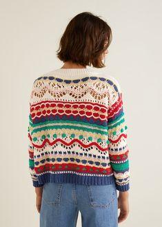Pull-over multicolore texturéMango Textured Multicolor Sweater - S-MJumpsuits for Woman 2019 Pull Crochet, Mode Crochet, Knit Crochet, Cardigan Au Crochet, Cardigan Pattern, Jersey Multicolor, Knitting Patterns, Crochet Patterns, Crochet Woman