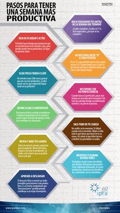 #IpraInfografia ¡Inicia una semana más #productiva! ¿Cómo? Aquí 10 pasos que te ayudarán a lograrlo.