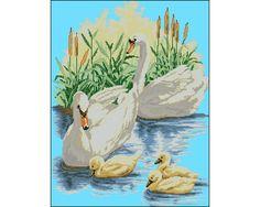 Ponto Cruz Em Pdf - Família de Cisnes | Thimage - Ponto Cruz em PDF | Elo7
