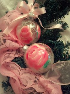 Hand Painted Shabby Chic Rose Glass Christmas