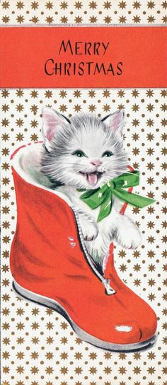 vintage Christmas kitten in red boot