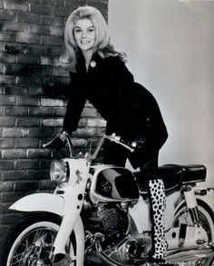 Ann Margaret 1960's fashion. vintage motorcycle