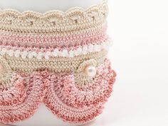 Freeform Crochet Cuff  Flowers  Ivory Pale Pink  by PinaraDesign, $72.00