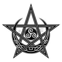 c78217894 Spiral Tattoos, Star Tattoos, Moon Star Tattoo, Wicca Tattoo, Triple Moon,