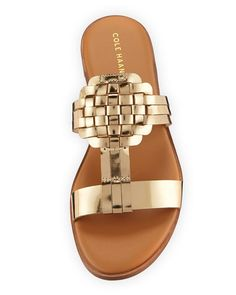 Shop Findra II Flat Woven Metallic Leather Slide Sandals from Cole Haan at Neiman Marcus Last Call, where you'll save as much as on designer fashions. Shoe Show, Last Call, Metallic Leather, Clearance Sale, Slide Sandals, Cole Haan, Neiman Marcus, Flats, Luxury