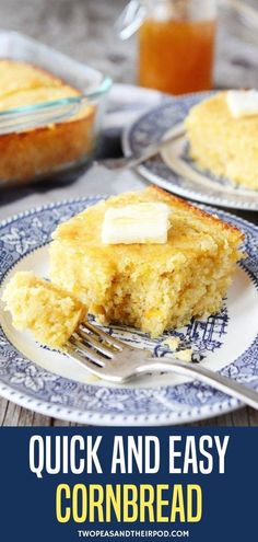 Easy Cornbread – this is the BEST homemade cornbread and it's super easy to make! The cornbread is tender, moist, buttery, and so good with a drizzle of honey! You will never buy boxed cornbread again!