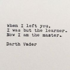 Star Wars Darth Vader Quote Typed on Typewriter by #LettersWithImpact