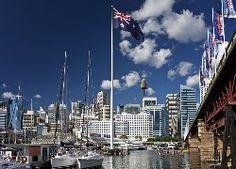 Przystań, Jachty, Drapacze Chmur, Most, Flagi, Australia