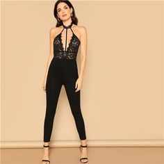 Humor Sexy Bodysuit Womens Lace Stitching Woven Backless Bandage Lace Up Leopard Print Skinny Stretch Leotard Ladies Jumpsuit Romper Non-Ironing Women's Clothing