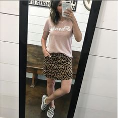 everyday affordable style leopard skirt outfit checkered vans outfit