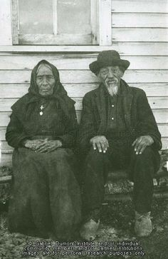 """""""Mr. and Mrs. J. Bottineau, Willow Bunch, SK. n.d. A Métis commercial buffalo hunter and his wife in earlier times, JE. THE VIRTUAL MUSEUM OF MÉTIS HISTORY AND CULTURE."""""""