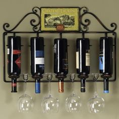 Wine and Glass Rack Wine Bottle Wall, Wine Glass Rack, Wine Rack Wall, Bottle Rack, Wine Racks, Wine Rack Furniture, Wine Storage, Storage Rack, Kitchen Storage