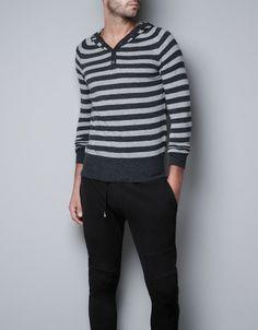 STRIPED SWEATER WITH HOOD - Knitwear - Man - ZARA United States