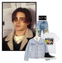 """""""90's"""" by morinef ❤ liked on Polyvore featuring Palm Angels, Levi's, Converse, men's fashion and menswear"""