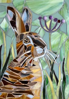 Hare Mosaic Card  Rabbit Bunny Mosaic  Mosaic Art by LAMosaicGifts