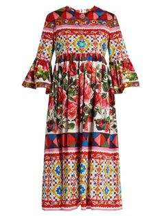 Carretto-print cotton midi dress | Dolce