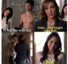 Lol yeah Toby you forgot your shirt Spencer And Toby, Pll Quotes, Pretty Little Liars, My Way, Kisses, Favorite Tv Shows, Fangirl, How To Find Out, Lol