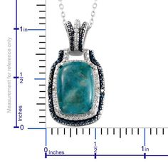 Chrysocolla (Cush 6.85 Ct), Blue Diamond, Diamond Pendant With Chain (20 in) in Platinum Overlay Sterling Silver Nickel Free TDiaWt 0.022Cts., TGW 6.87 Cts. This chrysocolla pendant with 20-inch chain will take you in style from morning to evening. Laced with blue diamond accents, the piece is crafted in sterling silver with platinum overlay. Wear it to office or take it to a dance floor. You are bound to create waves. Purchase price [$45.00]