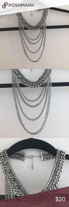 Forever 21 Silver Statement Necklace Silver multi strand statement necklace Forever 21 Jewelry Necklaces