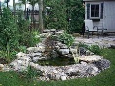 Image result for garden pond waterfall ideas