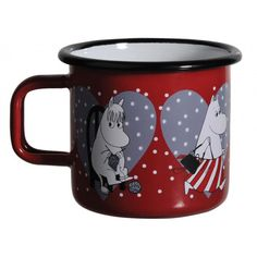 Moomin Hearts mug holds dl, perfect for cheering your day up!Muurla combines design with durability in this retro Moomin enamel mug. Moomin Shop, Moomin Mugs, Christmas Hearts, Christmas 2015, Yule, Tove Jansson, Day Up, Kitchen Items, Old And New