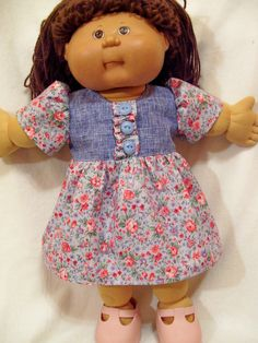 Cabbage Patch Doll Clothes, Blue Buttons Dress Set