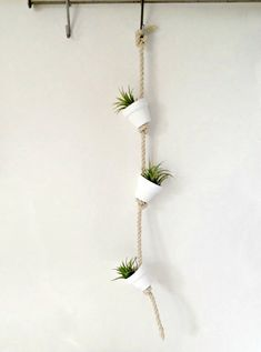 Pure white clay pot with air plants or succulents hanging from hemp rope/wall decor- air plant mini terracotta pot by omorfigiadesigns on Etsy https://www.etsy.com/listing/186098305/pure-white-clay-pot-with-air-plants-or