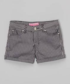 Another great find on #zulily! Black & Gray Stripe Twill Shorts by Cutie Patootie #zulilyfinds