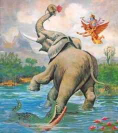 Gajendra Moksha – Elephant Kings' total Surrender  The elephant and the crocodile struggled for a thousand years. When a thousand years was over, the elephant began to tire, although the crocodile's strength was still undiminished. Gajendra lost a lot of blood and he became very weak. He finally realized that only God could help him and called out to Lord Narayana(Vishnu). He started to pray to Lord Vishnu.