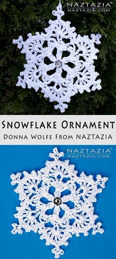 Crochet Snowflake Ornament - DIY Tutorial - by Donna Wolfe from Naztazia