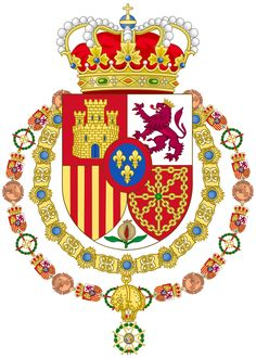 Spanish Monarch-Variant as Grand Master of the Order of Saint Ferdinand Leonor Princess Of Asturias, Spanish Royalty, Spanish Royal Family, Ville France, Banner, Chivalry, Family Crest, Coat Of Arms, Herb