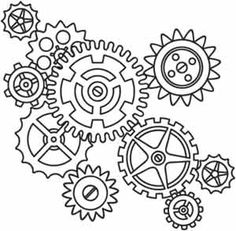 Steampunk Gears Cogs Coloring Pages Paper Embroidery, Embroidery Stitches, Embroidery Patterns, Urban Threads, Colouring Pages, Coloring Books, Gear Drawing, Maker Fun Factory Vbs, Stencils
