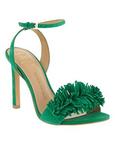 Meet your new party sandal, in green soft suede and finished with fringe. These heels will be your new favorite colorful spring shoes | Banana Republic
