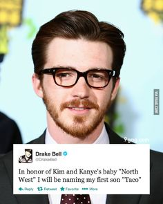 Drake Bell on K. Kardashian and K. West's baby name.