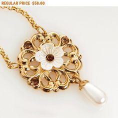 20% OFF - CIJ SALE Bridal Filigree Flower necklace, Swarovski crystals and crystal pearl, 24k gold plated, bridal necklace - Jasmine