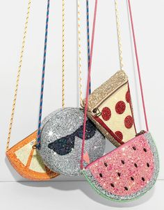 J.Crew girls' glitter orange slice bag, glitter Olive in sunnies bag, glitter pizza slice bag and glitter watermelon bag.