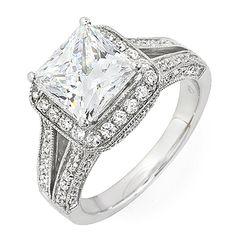 Certified Diamond Engagement Ring Princess Cut 14k White Gold 1.75 Carat #DiamondsByElizabeth #SolitairewithAccents