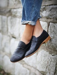 a great pair of loafers. jeffrey campbell loafer slip on Heeled Loafers, Loafer Flats, Oxfords, Heeled Boots, Black Loafers, Black Leather Shoes, Black Shoes With Jeans, Jeans Shoes, Suede Loafers